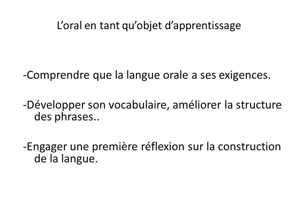 Loral en tant quobjet dapprentissage -Comprendre que la langue orale a ses exigences. -Développer son vocabulaire, améliorer la structure des phrases.