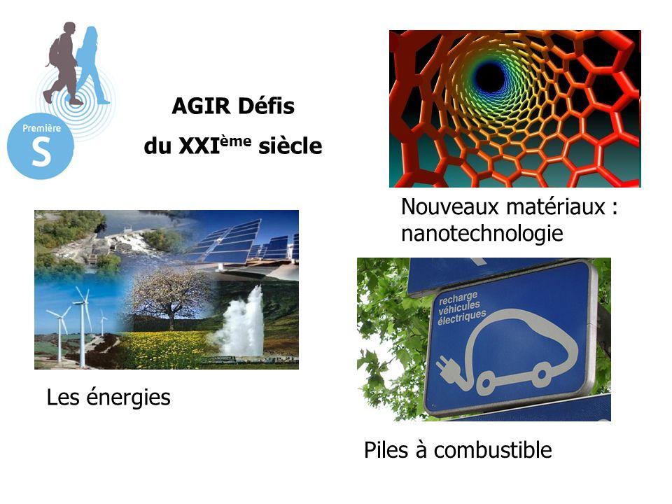 AGIR Défis du XXI ème siècle Les énergies Nouveaux matériaux : nanotechnologie Piles à combustible