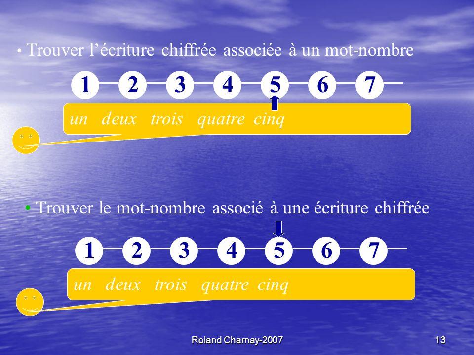 Roland Charnay-200713 un deux trois quatre cinq 12345671234567 Trouver le mot-nombre associé à une écriture chiffrée Trouver lécriture chiffrée associée à un mot-nombre un deux trois quatre cinq 12345671234567
