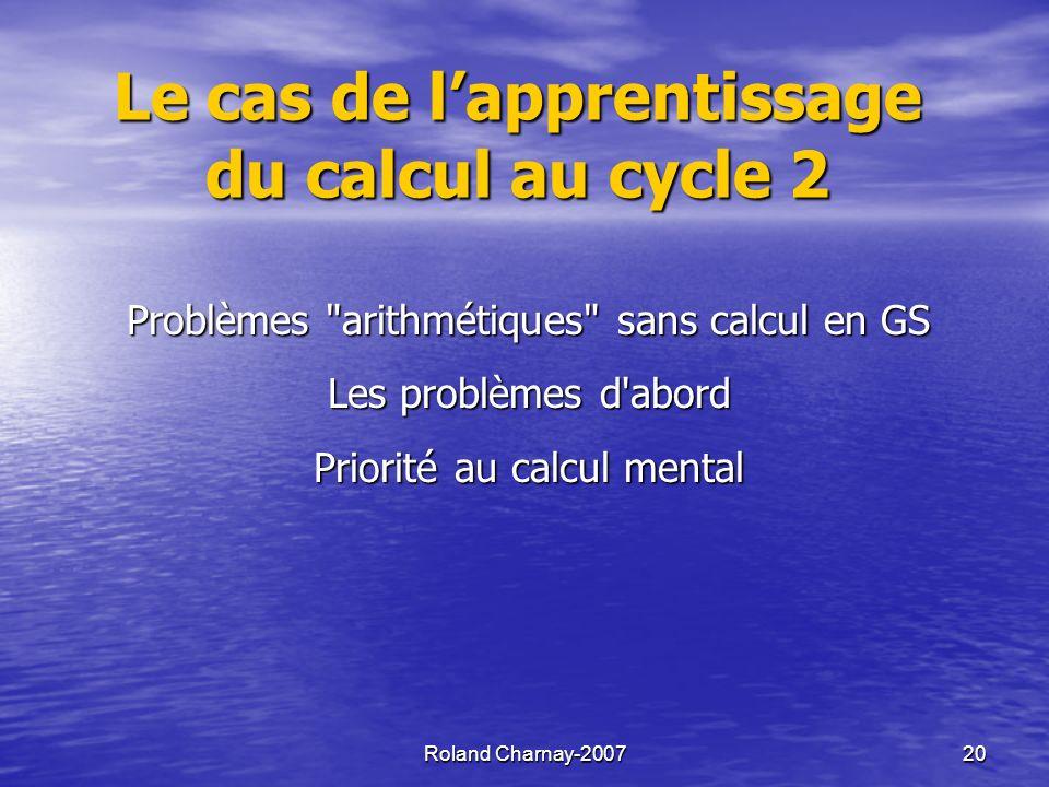 Roland Charnay-200721 Calcul en GS .quelles procédures .