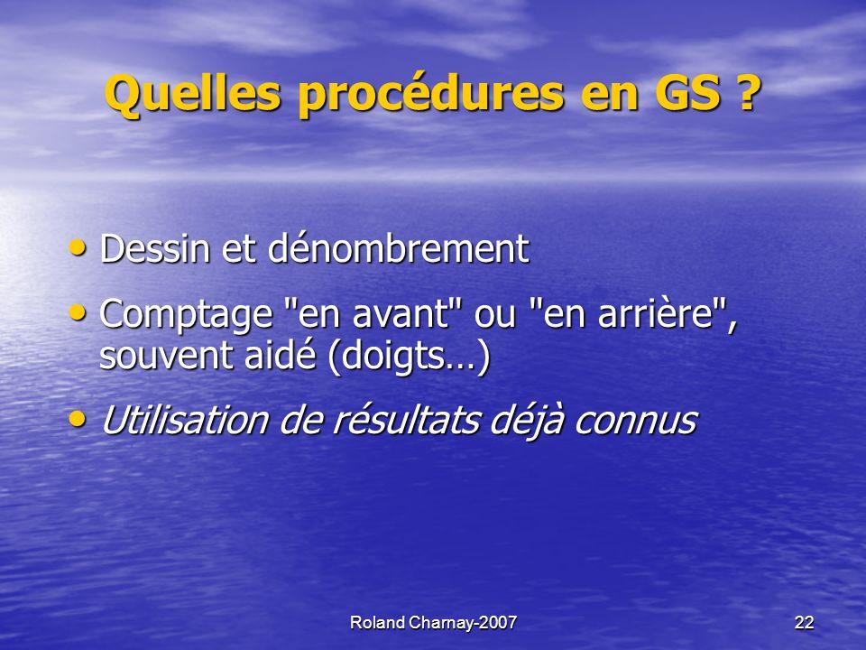 Roland Charnay-200722 Quelles procédures en GS .