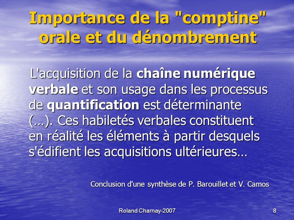 Roland Charnay-20078 Importance de la comptine orale et du dénombrement L acquisition de la chaîne numérique verbale et son usage dans les processus de quantification est déterminante (…).
