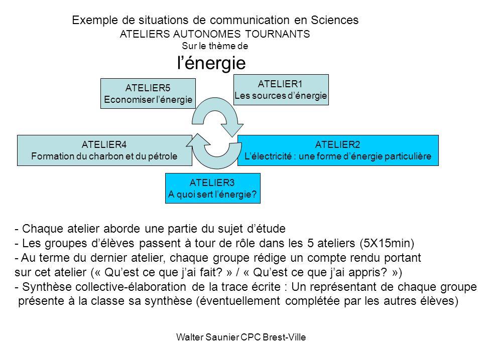 Walter Saunier CPC Brest-Ville ATELIER4 Formation du charbon et du pétrole ATELIER5 Economiser lénergie ATELIER2 Lélectricité : une forme dénergie par