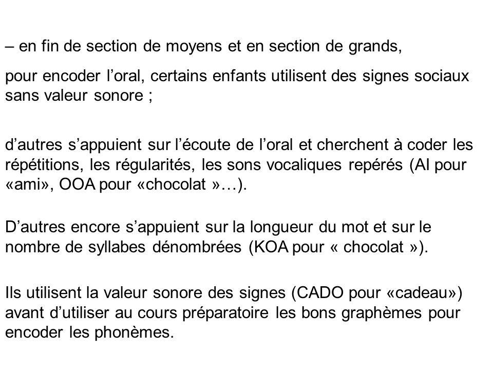 Ils utilisent la valeur sonore des signes (CADO pour «cadeau») avant dutiliser au cours préparatoire les bons graphèmes pour encoder les phonèmes. – e