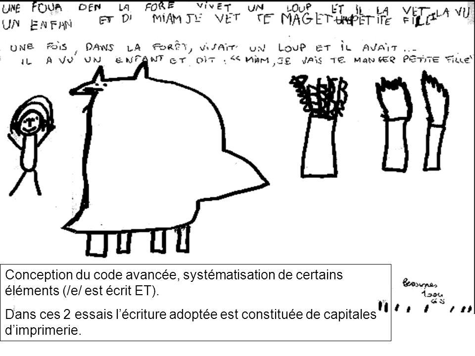 Conception du code avancée, systématisation de certains éléments (/e/ est écrit ET). Dans ces 2 essais lécriture adoptée est constituée de capitales d