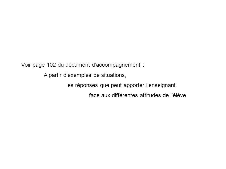 Voir page 102 du document daccompagnement : A partir dexemples de situations, les réponses que peut apporter lenseignant face aux différentes attitude