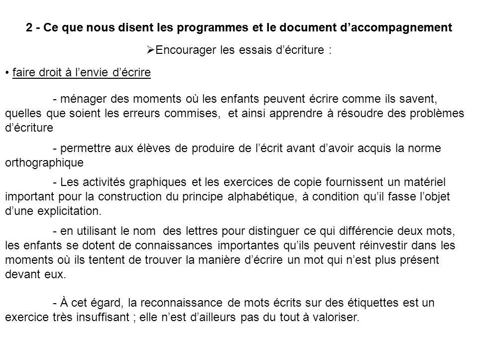 2 - Ce que nous disent les programmes et le document daccompagnement Encourager les essais décriture : faire droit à lenvie décrire - ménager des mome