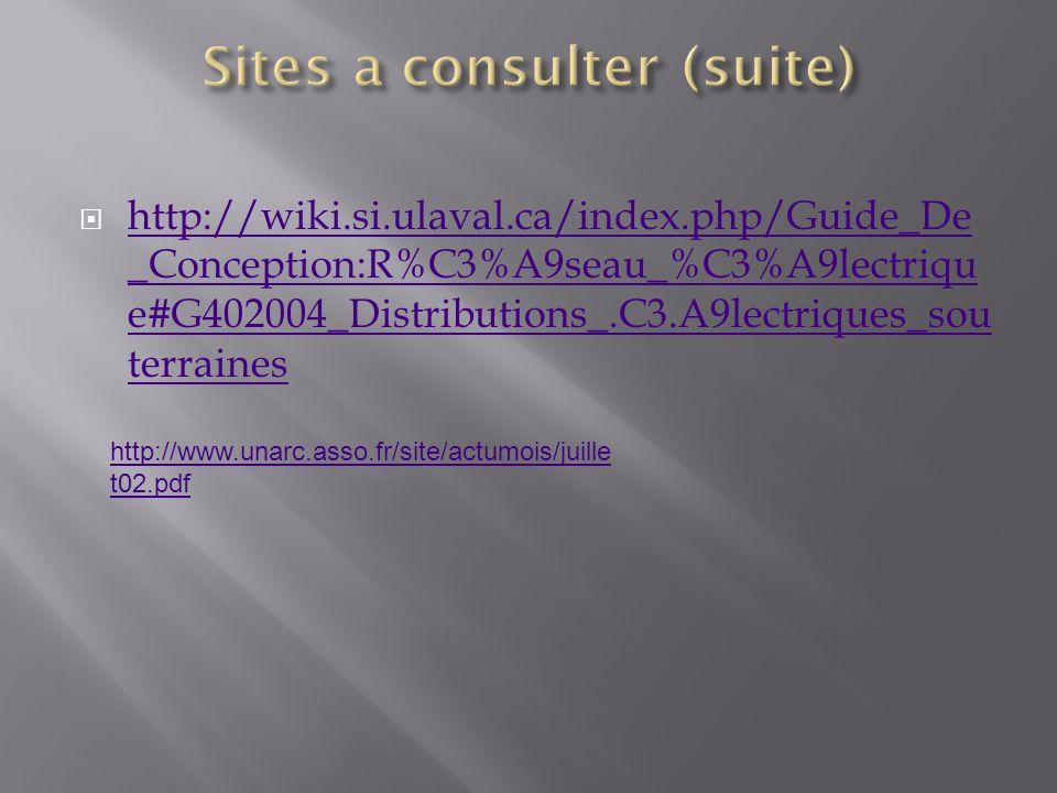 http://wiki.si.ulaval.ca/index.php/Guide_De _Conception:R%C3%A9seau_%C3%A9lectriqu e#G402004_Distributions_.C3.A9lectriques_sou terraines http://wiki.