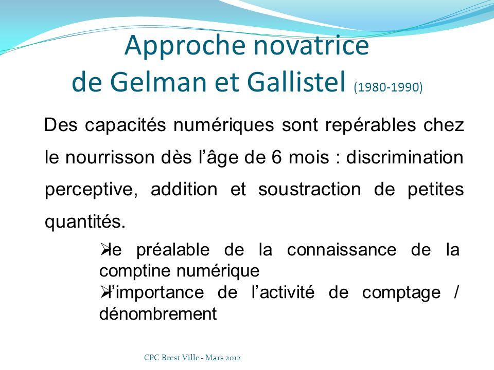 Approche novatrice de Gelman et Gallistel (1980-1990) Des capacités numériques sont repérables chez le nourrisson dès lâge de 6 mois : discrimination