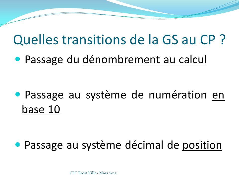 Quelles transitions de la GS au CP ? Passage du dénombrement au calcul Passage au système de numération en base 10 Passage au système décimal de posit