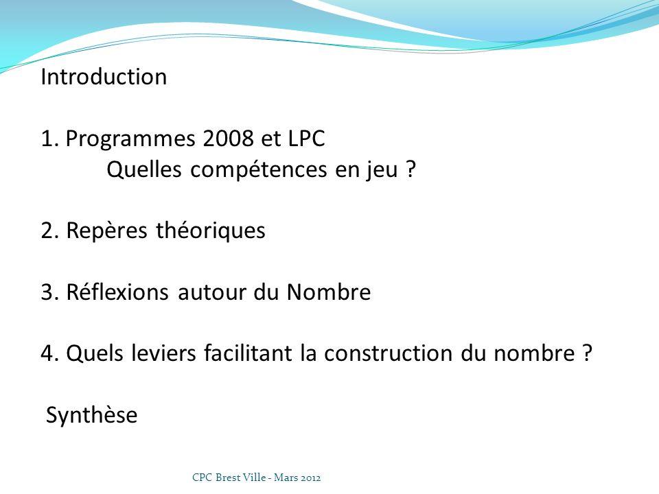 Introduction 1.Programmes 2008 et LPC Quelles compétences en jeu ? 2. Repères théoriques 3. Réflexions autour du Nombre 4. Quels leviers facilitant la