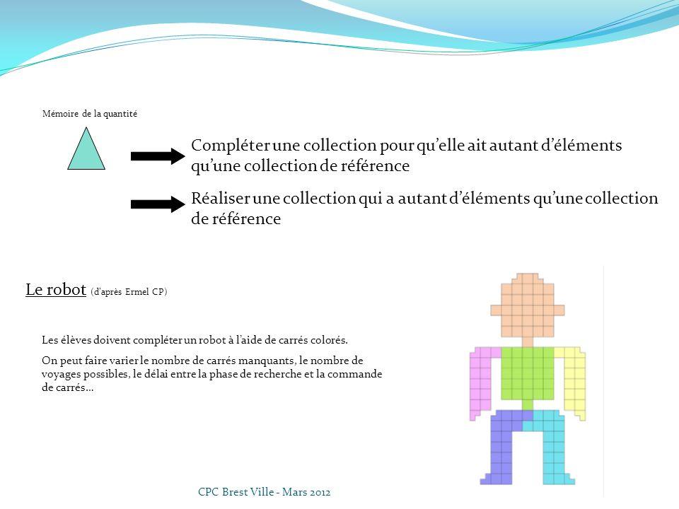 CPC Brest Ville - Mars 2012 Mémoire de la quantité Réaliser une collection qui a autant déléments quune collection de référence Le robot (daprès Ermel