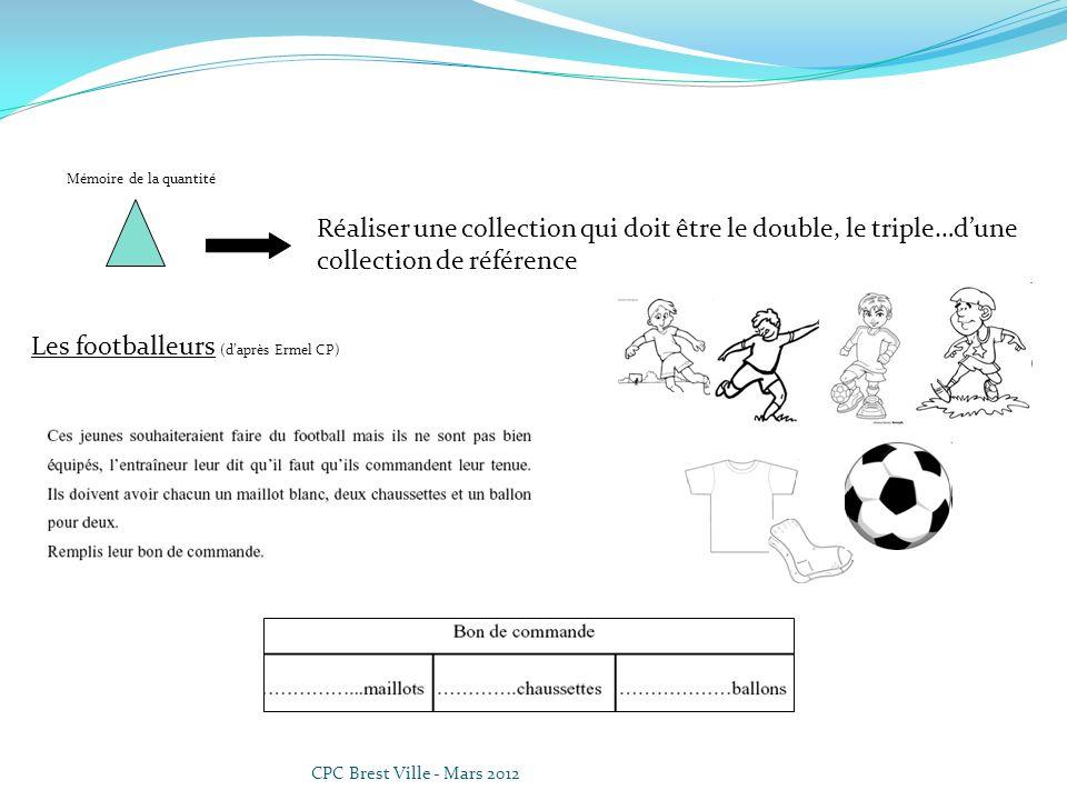 CPC Brest Ville - Mars 2012 Mémoire de la quantité Réaliser une collection qui doit être le double, le triple…dune collection de référence Les footbal
