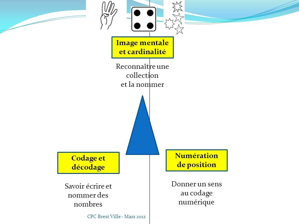 CPC Brest Ville - Mars 2012 Donner un sens au codage numérique Numération de position Reconnaître une collection et la nommer Image mentale et cardinalité Codage et décodage Savoir écrire et nommer des nombres Dénombrement