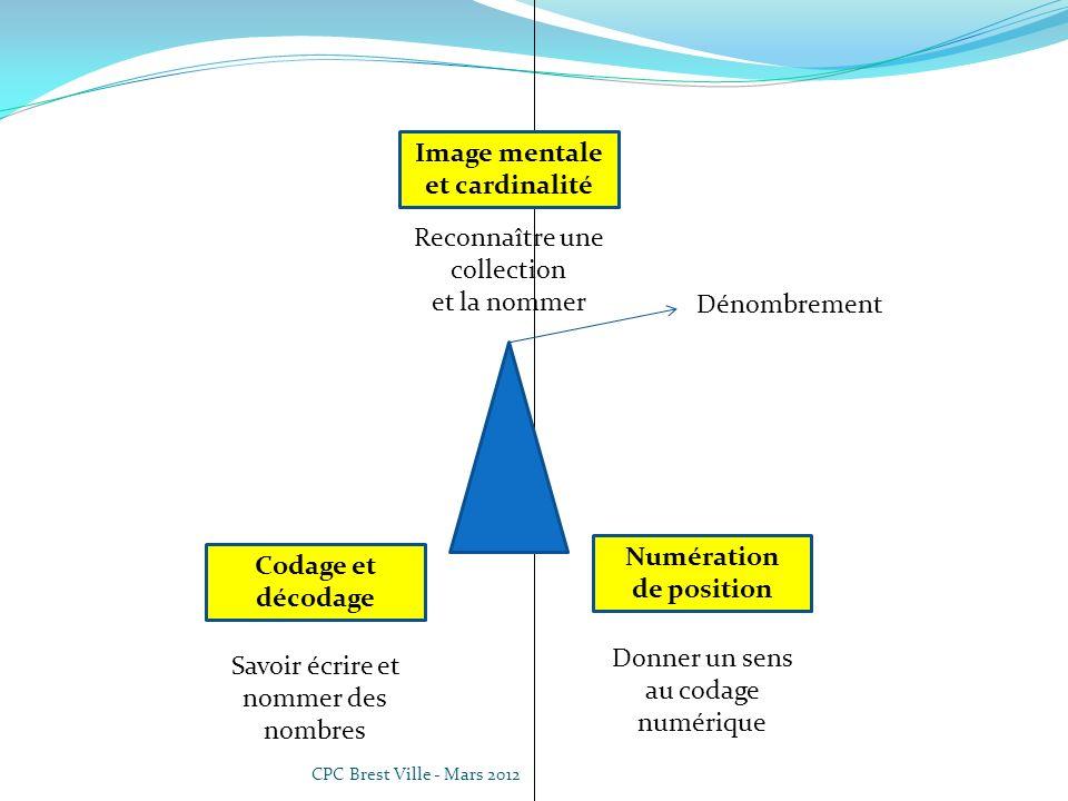 CPC Brest Ville - Mars 2012 Donner un sens au codage numérique Numération de position Reconnaître une collection et la nommer Image mentale et cardinalité Codage et décodage Savoir écrire et nommer des nombres Dénombrement Système de base 10