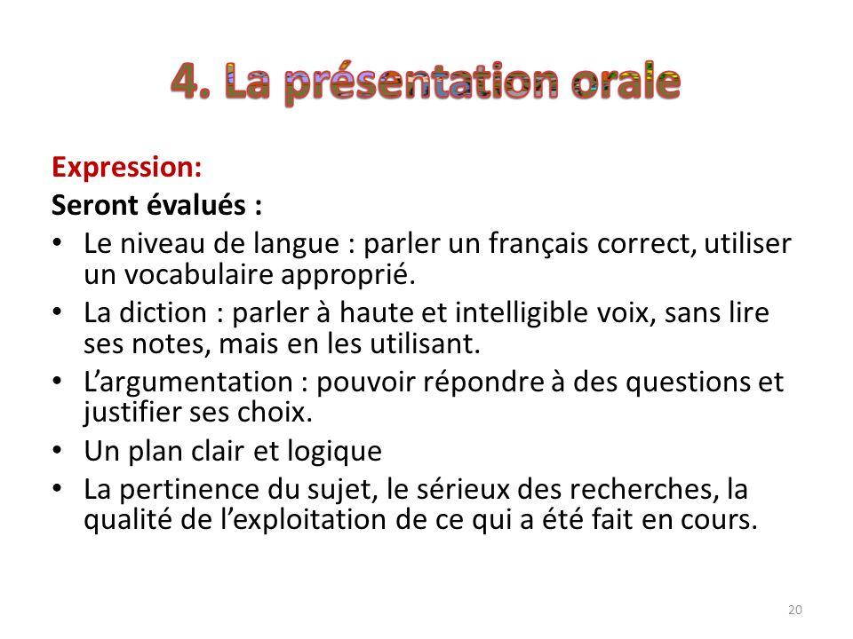 20 Expression: Seront évalués : Le niveau de langue : parler un français correct, utiliser un vocabulaire approprié. La diction : parler à haute et in
