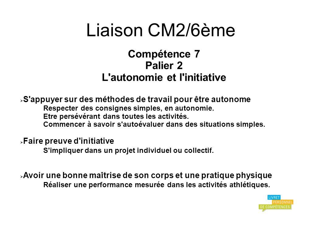 Liaison CM2/6ème Compétence 7 Palier 2 L autonomie et l initiative S appuyer sur des méthodes de travail pour être autonome Respecter des consignes simples, en autonomie.