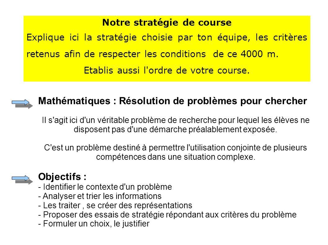 Notre stratégie de course Explique ici la stratégie choisie par ton équipe, les critères retenus afin de respecter les conditions de ce 4000 m.