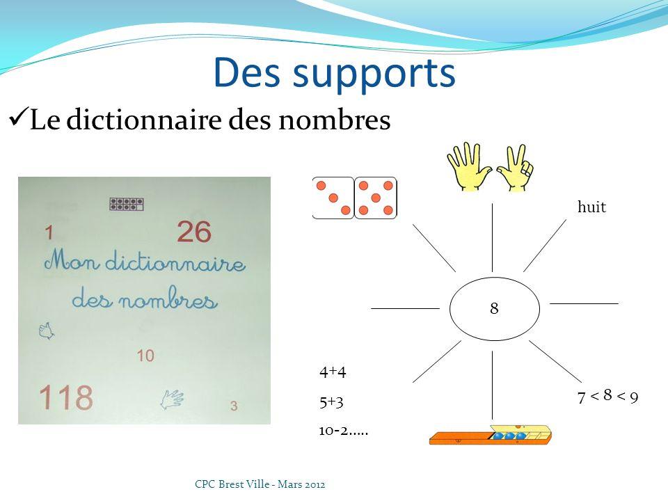 CPC Brest Ville - Mars 2012 Des supports Le dictionnaire des nombres 8 4+4 5+3 10-2….. 7 < 8 < 9 huit