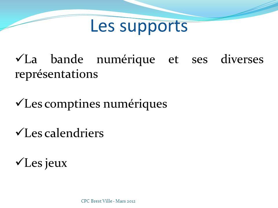 CPC Brest Ville - Mars 2012 La suite numérique Des supports Les Frises numériques La Spirale des nombres Le tableau des nombres Le rouleau des nombres Les compteurs