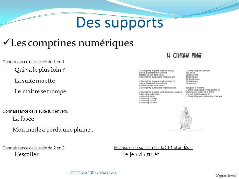 CPC Brest Ville - Mars 2012 Des supports Les comptines numériques Qui va le plus loin .