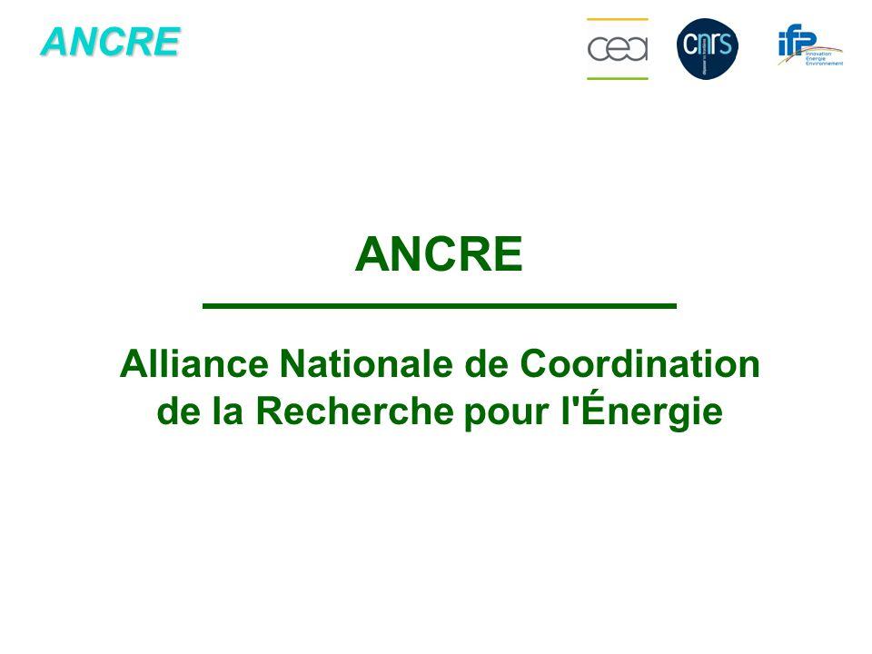 ANCRE ANCRE Alliance Nationale de Coordination de la Recherche pour l'Énergie