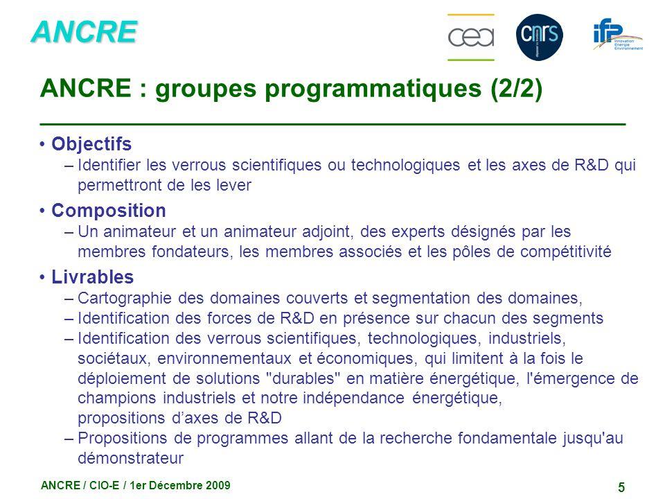 ANCRE ANCRE / CIO-E / 1er Décembre 2009 5 ANCRE : groupes programmatiques (2/2) Objectifs –Identifier les verrous scientifiques ou technologiques et l