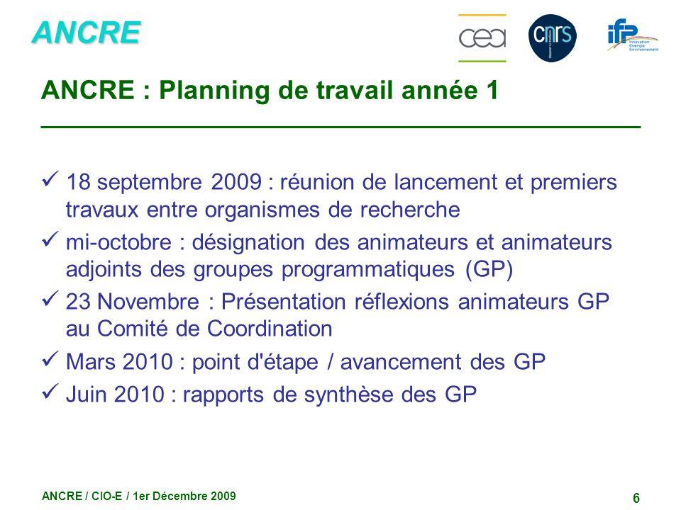 ANCRE ANCRE / CIO-E / 1er Décembre 2009 6 ANCRE : Planning de travail année 1 18 septembre 2009 : réunion de lancement et premiers travaux entre organ