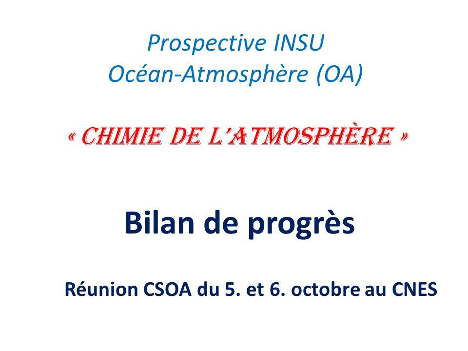 Prospective INSU Océan-Atmosphère (OA) « Chimie de latmosphère » Bilan de progrès Réunion CSOA du 5. et 6. octobre au CNES