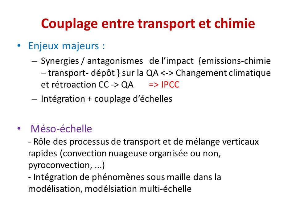 Couplage entre transport et chimie Enjeux majeurs : – Synergies / antagonismes de limpact {emissions-chimie – transport- dépôt } sur la QA Changement