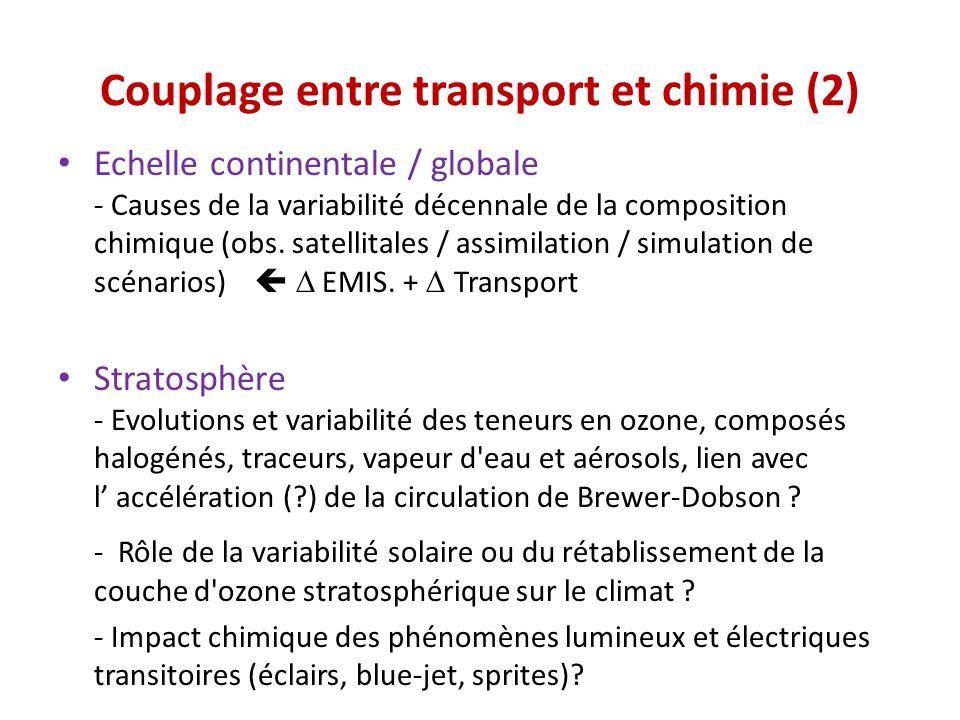 Couplage entre transport et chimie (2) Echelle continentale / globale - Causes de la variabilité décennale de la composition chimique (obs. satellital