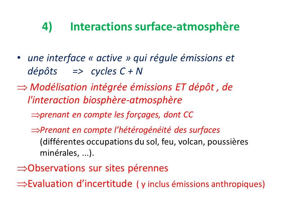 4)Interactions surface-atmosphère une interface « active » qui régule émissions et dépôts => cycles C + N Modélisation intégrée émissions ET dépôt, de