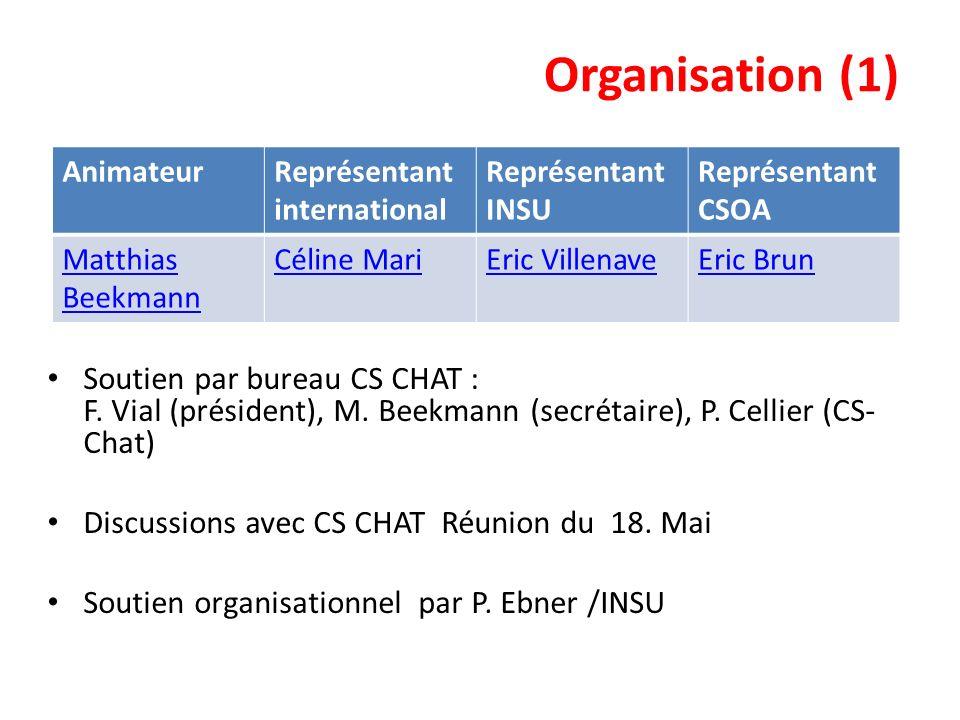 Organisation (1) Soutien par bureau CS CHAT : F. Vial (président), M. Beekmann (secrétaire), P. Cellier (CS- Chat) Discussions avec CS CHAT Réunion du