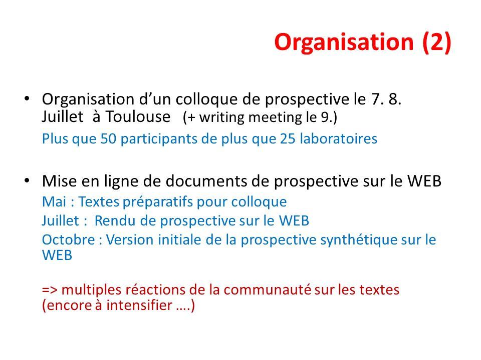 Organisation (2) Organisation dun colloque de prospective le 7. 8. Juillet à Toulouse (+ writing meeting le 9.) Plus que 50 participants de plus que 2