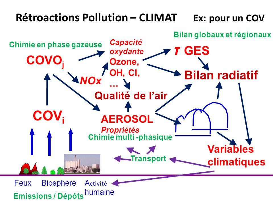 AEROSOL Propriétés FeuxBiosphèreA ctivité humaine Capacité oxydante Ozone, OH, Cl, … Chimie en phase gazeuse COV i Rétroactions Pollution – CLIMAT Ex: