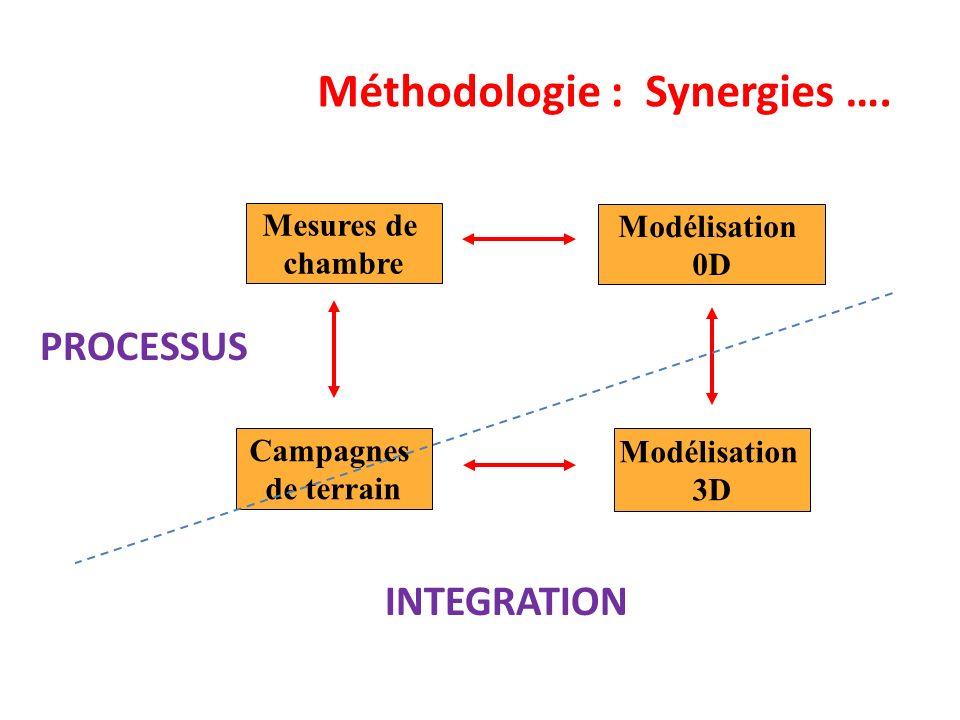 Méthodologie : Synergies …. Campagnes de terrain Modélisation 3D Modélisation 0D Mesures de chambre INTEGRATION PROCESSUS