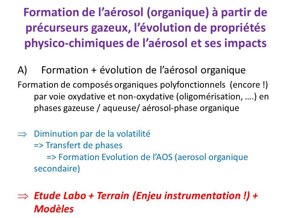 Formation de laérosol (organique) à partir de précurseurs gazeux, lévolution de propriétés physico-chimiques de laérosol et ses impacts A)Formation +