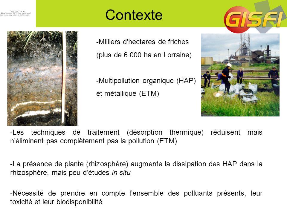 Objectifs -Quantifier in situ le devenir des HAP dans la rhizosphère, en interaction avec les autres polluants (organiques et métalliques) et les conséquences de leur présence dans les systèmes sol-plante -Approche multidisciplinaire: -caractérisation exhaustive des polluants -flux et transferts de polluants -biodisponibilité, toxicité -fonctions microbiennes (gènes de dégradation des HAP) -modélisation