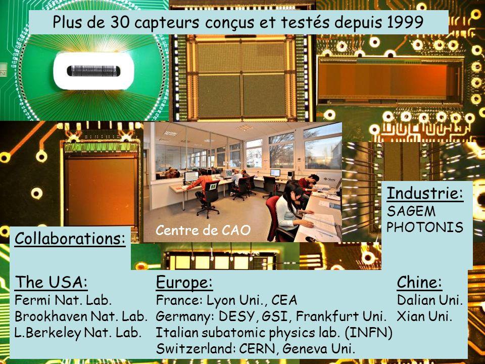 Plus de 30 capteurs conçus et testés depuis 1999 Centre de CAO Collaborations: The USA: Fermi Nat. Lab. Brookhaven Nat. Lab. L.Berkeley Nat. Lab. Euro