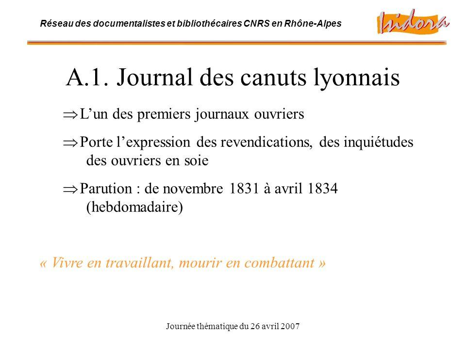 Journée thématique du 26 avril 2007 Réseau des documentalistes et bibliothécaires CNRS en Rhône-Alpes A.1.