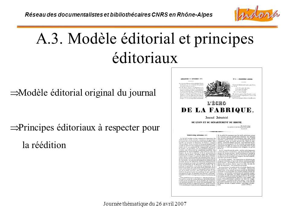 Journée thématique du 26 avril 2007 Réseau des documentalistes et bibliothécaires CNRS en Rhône-Alpes B.