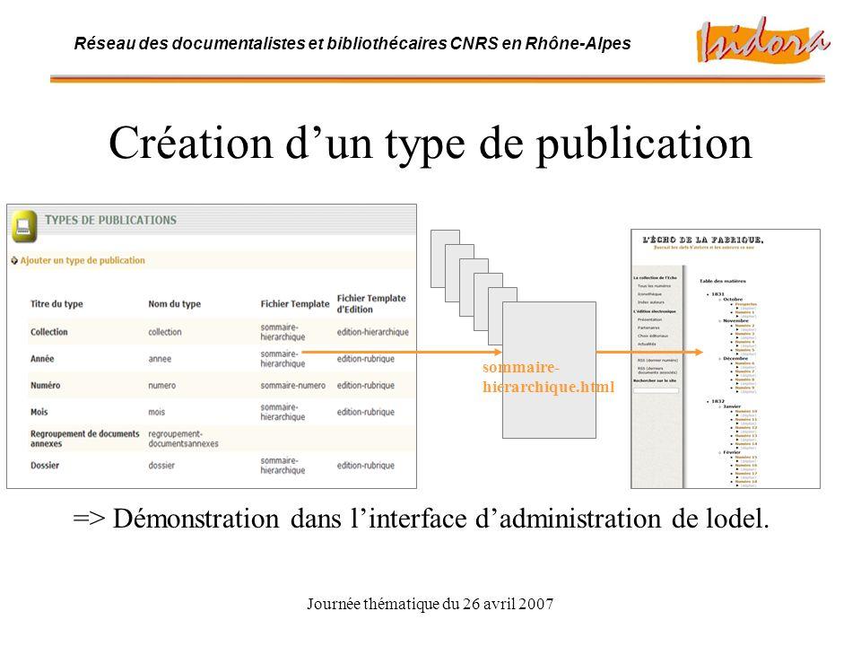 Journée thématique du 26 avril 2007 Réseau des documentalistes et bibliothécaires CNRS en Rhône-Alpes Création dun type de publication => Démonstration dans linterface dadministration de lodel.