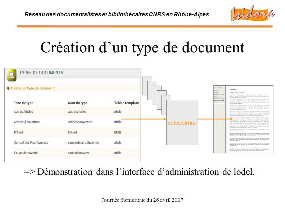 Journée thématique du 26 avril 2007 Réseau des documentalistes et bibliothécaires CNRS en Rhône-Alpes B.2.