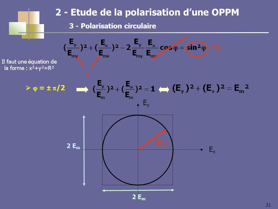 21 2 - Etude de la polarisation dune OPPM 3 - Polarisation circulaire = ± /2 2 E m =1 = ExEx EyEy E(t) Il faut une équation de la forme : x²+y²=R²
