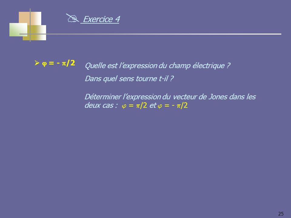 25 = - /2 Quelle est lexpression du champ électrique ? Dans quel sens tourne t-il ? Exercice 4 Déterminer lexpression du vecteur de Jones dans les deu