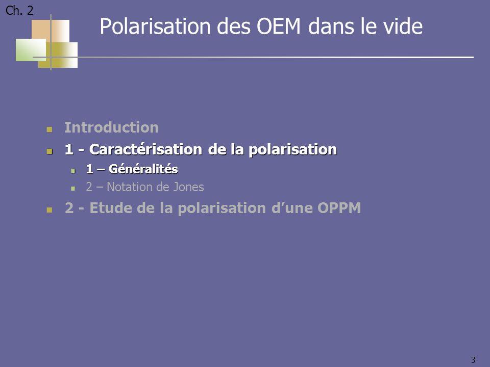 3 Introduction 1 - Caractérisation de la polarisation 1 - Caractérisation de la polarisation 1 – Généralités 1 – Généralités 2 – Notation de Jones 2 -