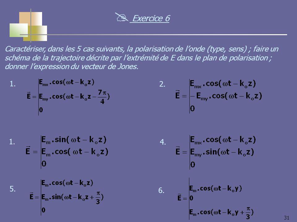 31 Caractériser, dans les 5 cas suivants, la polarisation de londe (type, sens) ; faire un schéma de la trajectoire décrite par lextrémité de E dans l