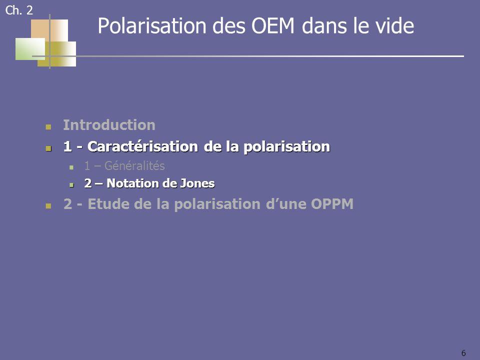 6 Introduction 1 - Caractérisation de la polarisation 1 - Caractérisation de la polarisation 1 – Généralités 2 – Notation de Jones 2 – Notation de Jon