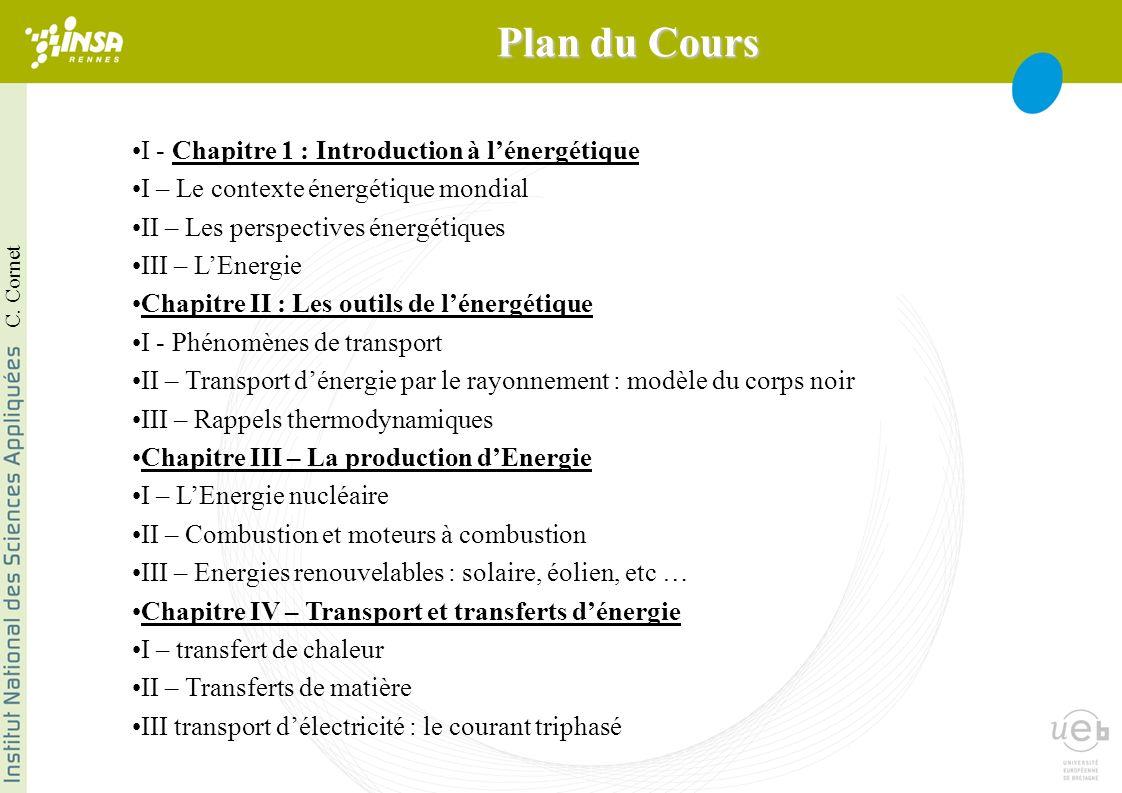 I - Chapitre 1 : Introduction à lénergétique I – Le contexte énergétique mondial II – Les perspectives énergétiques III – LEnergie Chapitre II : Les o