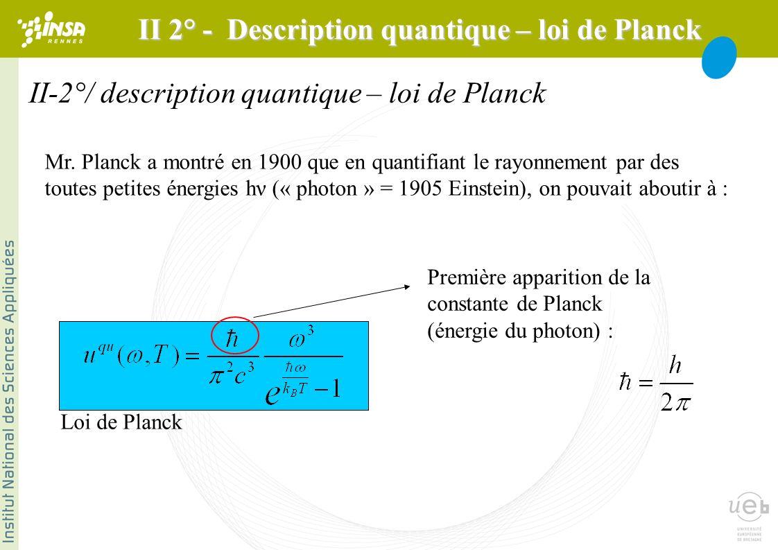 II-2°/ description quantique – loi de Planck Mr. Planck a montré en 1900 que en quantifiant le rayonnement par des toutes petites énergies hν (« photo
